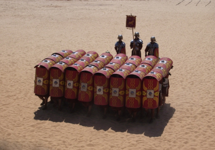 A Roman phalanx / group of cycle advocates preparing for constructive dialogue with other interested stakeholders